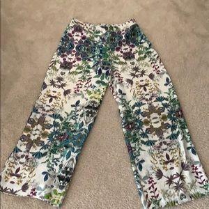 Pink Tartan Pants - Pink Tartan wide leg floral pant size 10